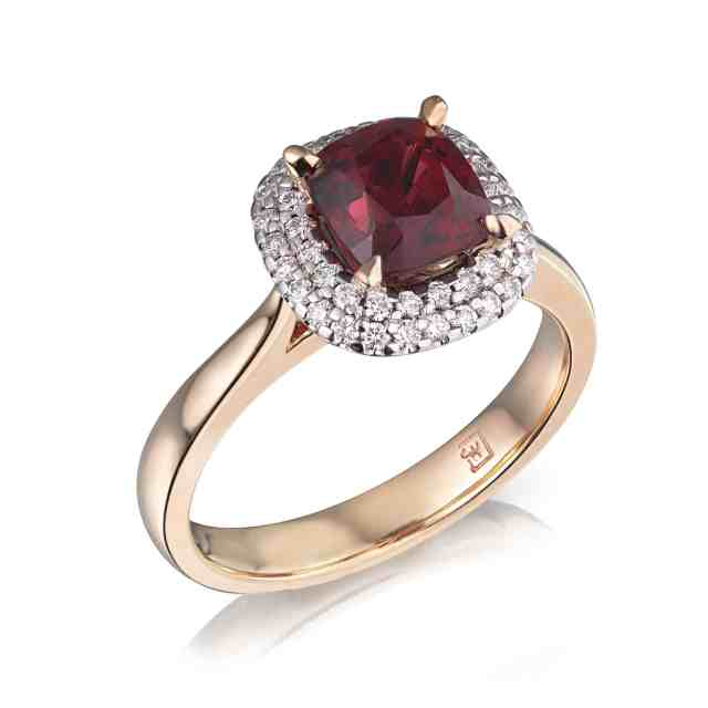 Cushion Red Spinel & Diamond Halo Ring