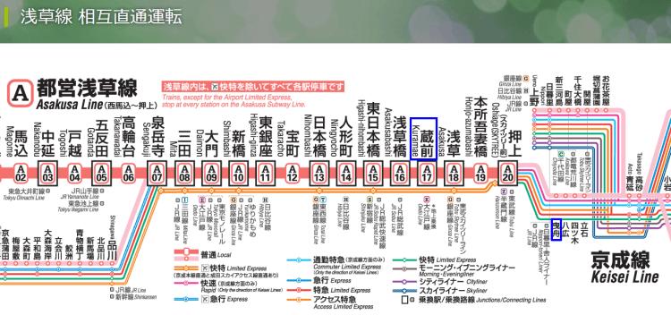 都営浅草線京成電鉄相互乗り入れ路線図