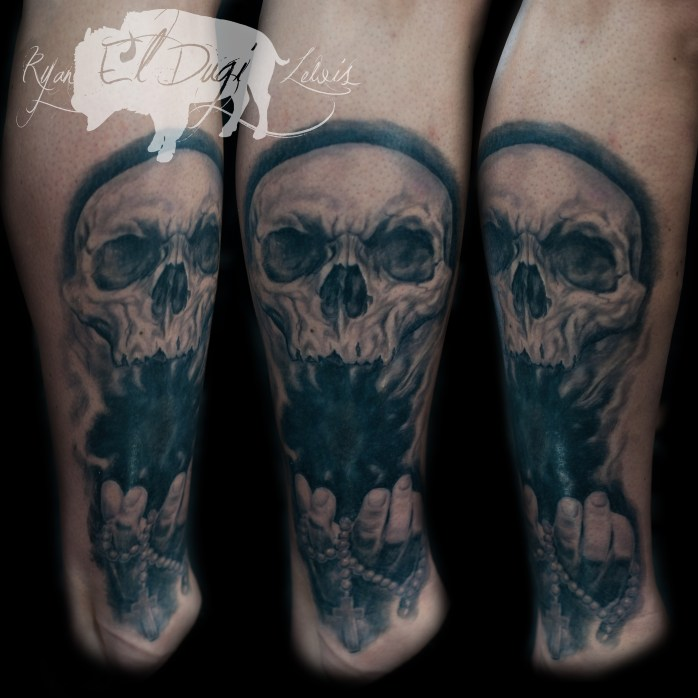 John Clock Leg Healed SITE, skull hand and rosary by ryan el dugi lewis to be published 8.22.18