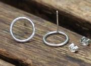 Silver Circle Stud Earrings 3