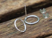 Silver Circle Stud Earrings 5