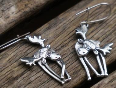 Sterling Silver Moose Earrings 1