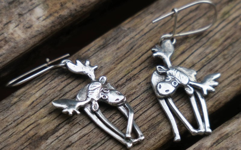 Sterling Silver Moose Earrings 1