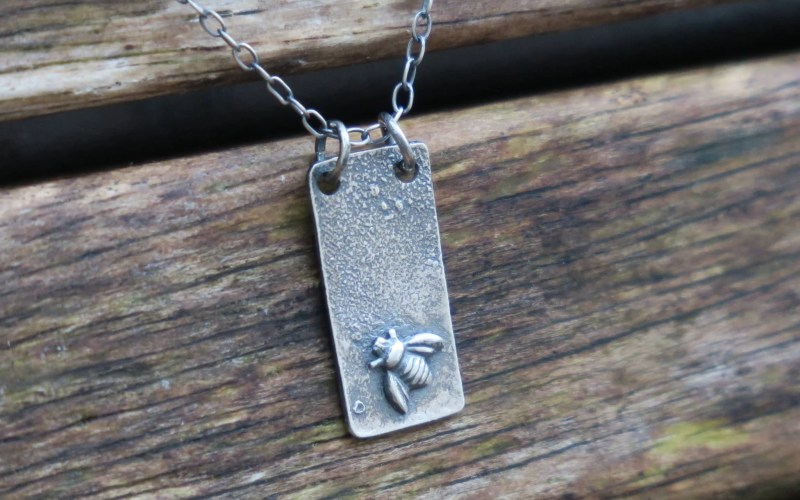 Raw Silver Bee Necklace 1