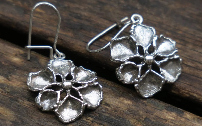 Silver Flower Earrings 1
