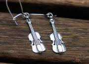 Silver Violin Earrings 2