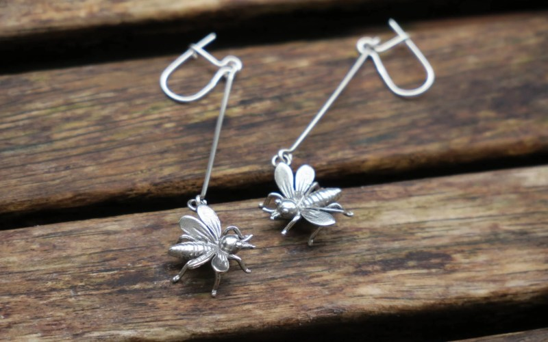 Sterling Silver Bee Earrings 1