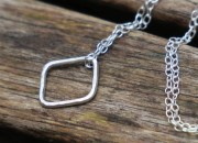Sterling Silver Square Necklace 3