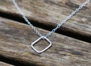 Sterling Silver Square Necklace 6