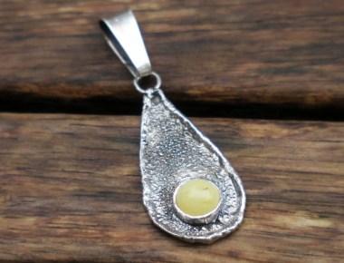 Raw Silver Amber Pendant 1