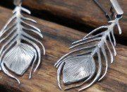 Silver Peacock Feather Earrings 7