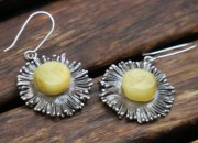 Silver Amber Flower Earrings 3