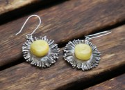 Silver Amber Flower Earrings 6