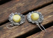 Silver Amber Flower Earrings 7