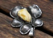 Silver Amber Flower Pendant Necklace 7