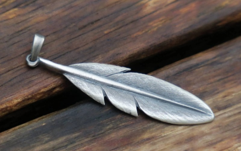 Sterling Silver Feather Pendant 2