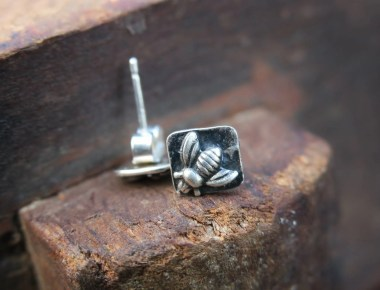 Sterling Silver Bee Stud Earrings 1