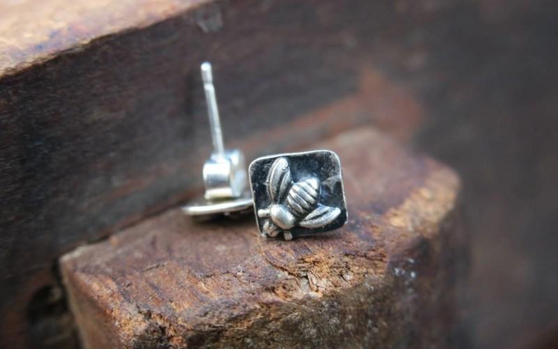 Sterling Silver Bee Stud Earrings 1