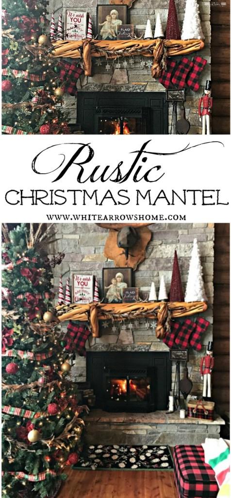 Christmas Mantel, Buffalo Plaid, Log Cabin, Cabin Decor, Rustic Decor, Stone Fireplace