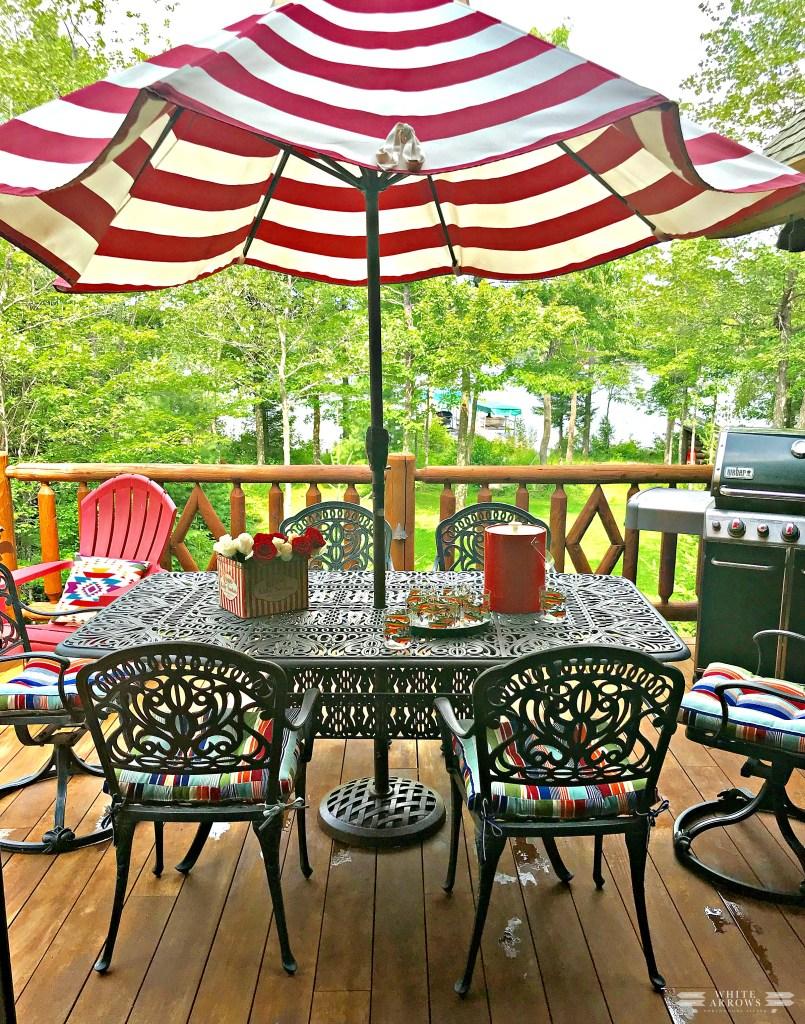 Back Porch, Porch Decor, Patio Furniture, Striped Umbrella, Lake House, Patio Umbrella