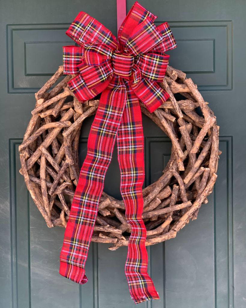 Christmas Wreath- Wooden and Plaid Bow