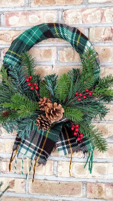plaid scarf Christmas Wreath