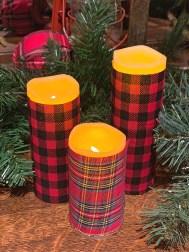 Plaid Christmas Candles DIY