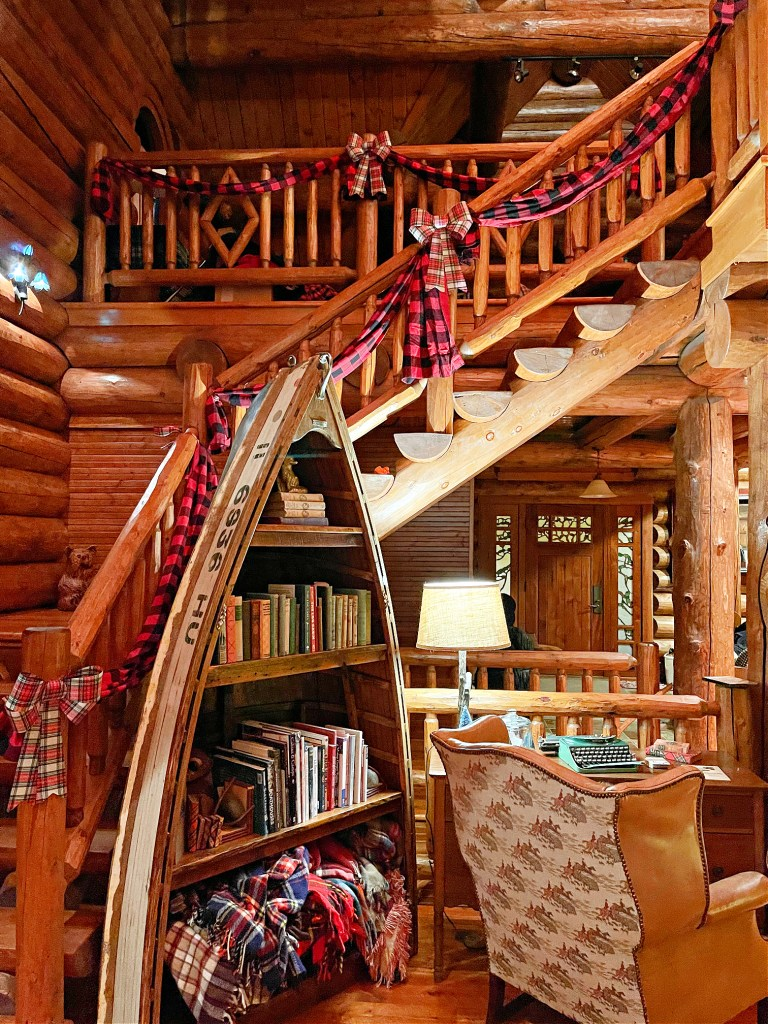 Christmas stair bunting in cabin