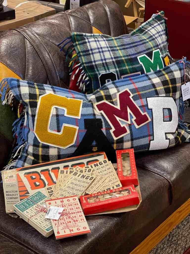 Vintage Varsity Letter Pillows out of vintage camp blankets