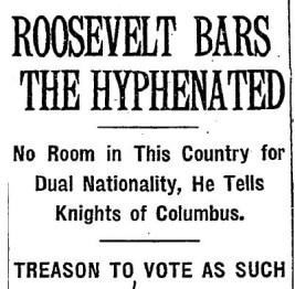 NYT headline, Teddy Roosevelt 1915-8x6