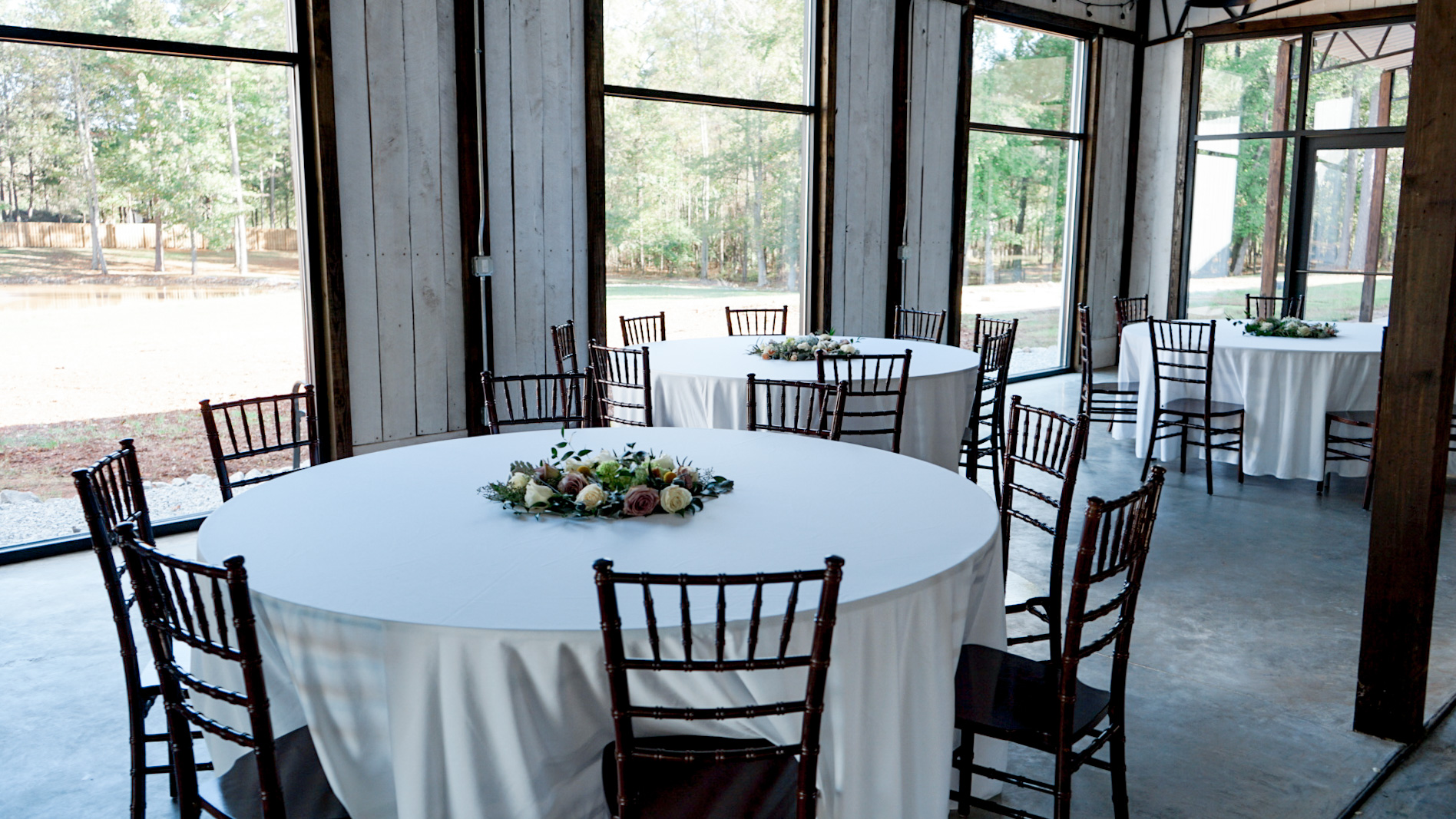 Tables, chairs, and tablecloths available for use