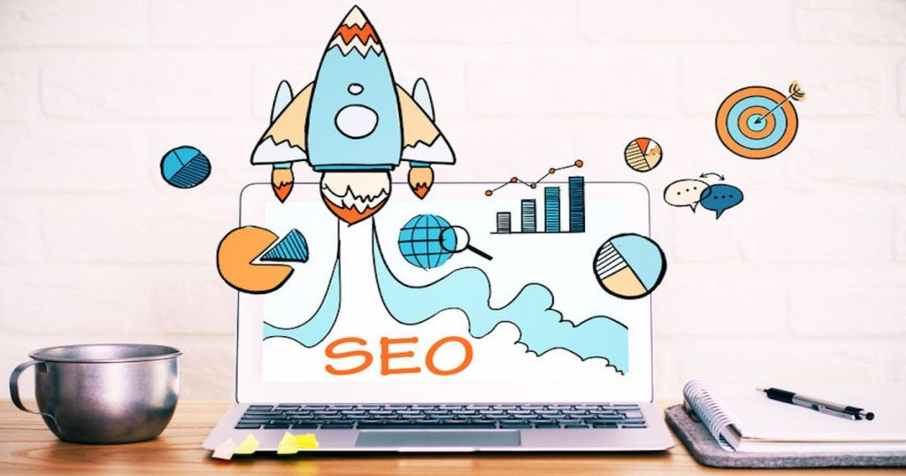Rocket with charts showing increased traffic from SEO