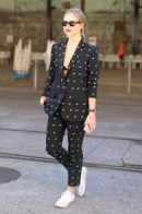 stylish ways with white converse - black and white spot trouser suit