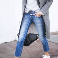 white converse, jeans and grey