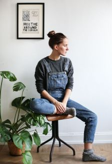 dungarees relaxed jumper and socks