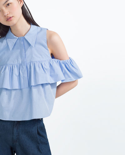off the shoulder blue zara