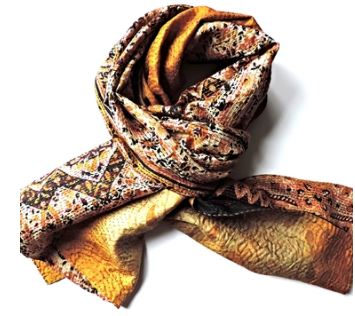 gold and black silk sari scarf jewelled buddha