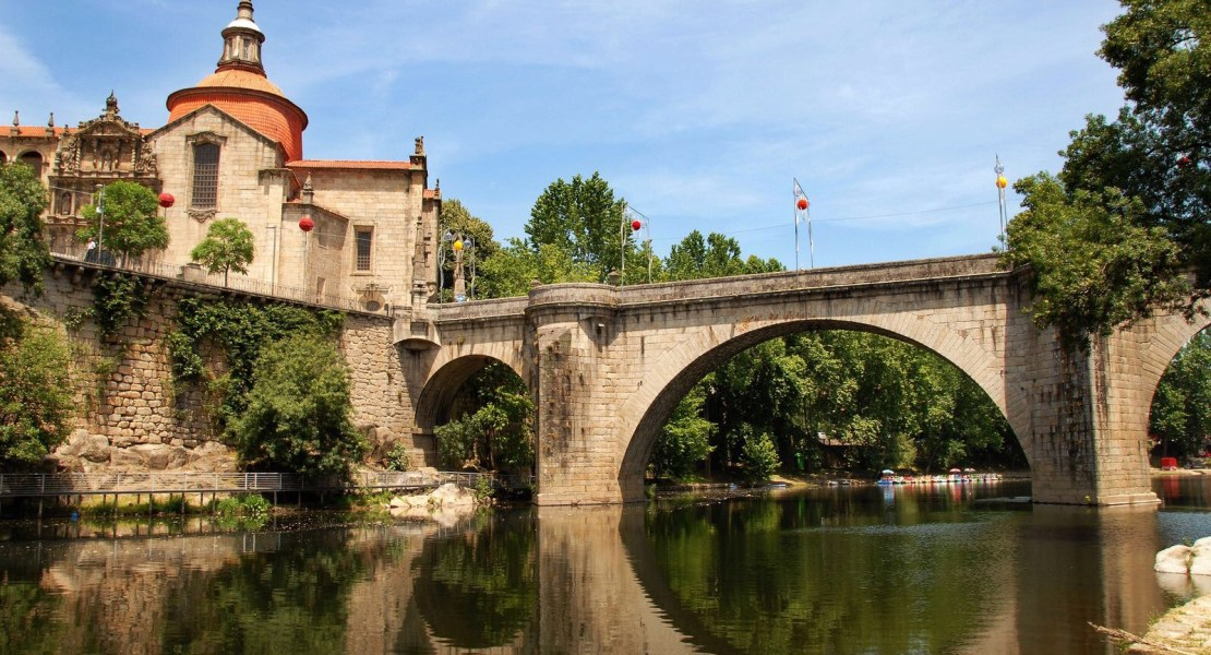 Bridge and church in Amarante, Portugal
