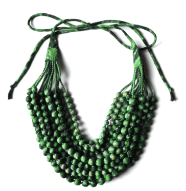 Jewelled Buddha emerald green sari bead necklace.png