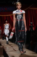 Moschino Autumn Winter 2017 dry cleaning bag dress