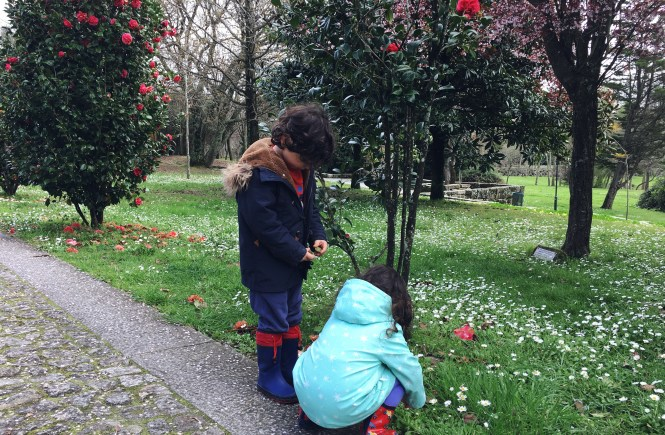 Having fun at the park collecting flower petals