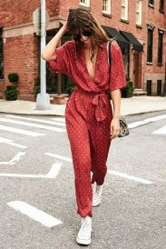 red jumpsuit and white converse street style