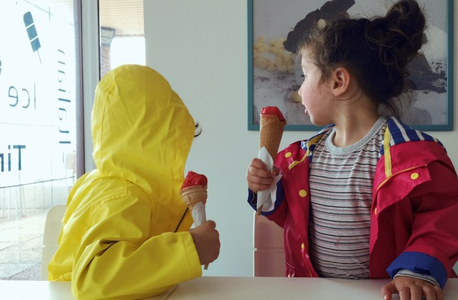 Eating ice cream on a rainy day
