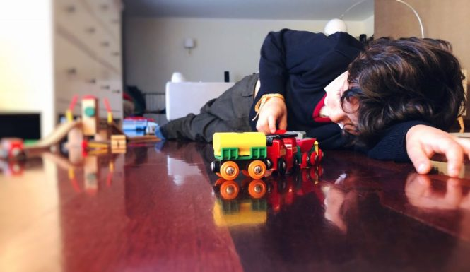 Playing with brio trains by White Camellias
