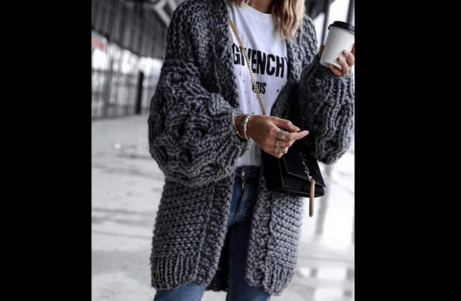 how to wear chunky knit oversized cardigans