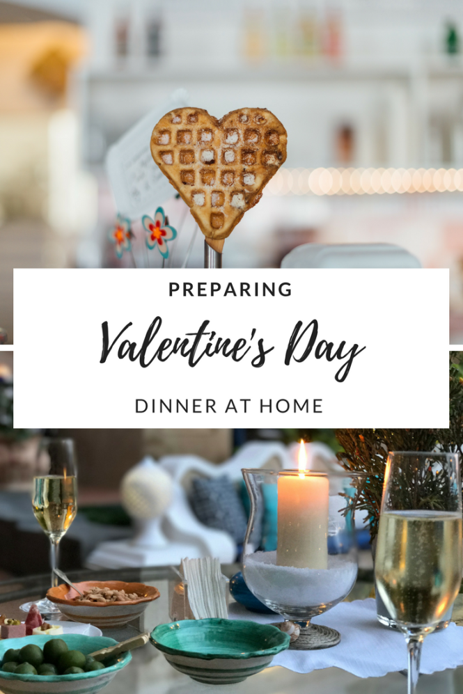 Preparing Valentine's day dinner at home