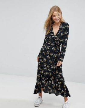 floral wrap dress with converse