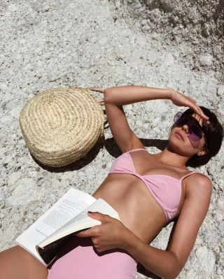 high waist bikini pink straw bag