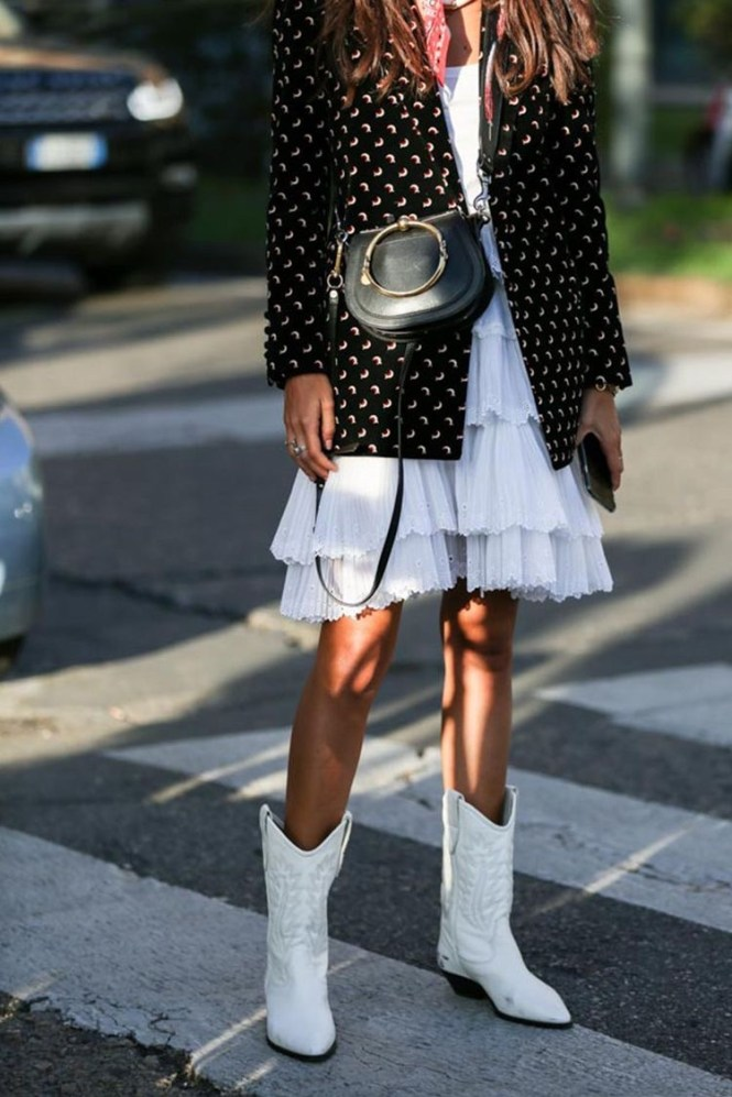How to wear cowboy boots - white boots