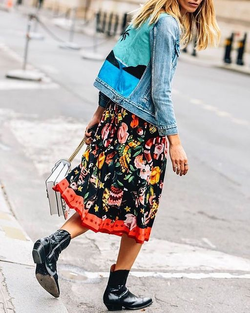 How to wear cowboy boots - floral dress and denim